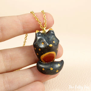 Red Jasper Wolf Necklace in Polymer Clay - The Folky Fox