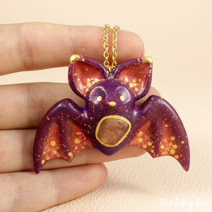 Orange Labradorite Bat Necklace in Polymer Clay - The Folky Fox