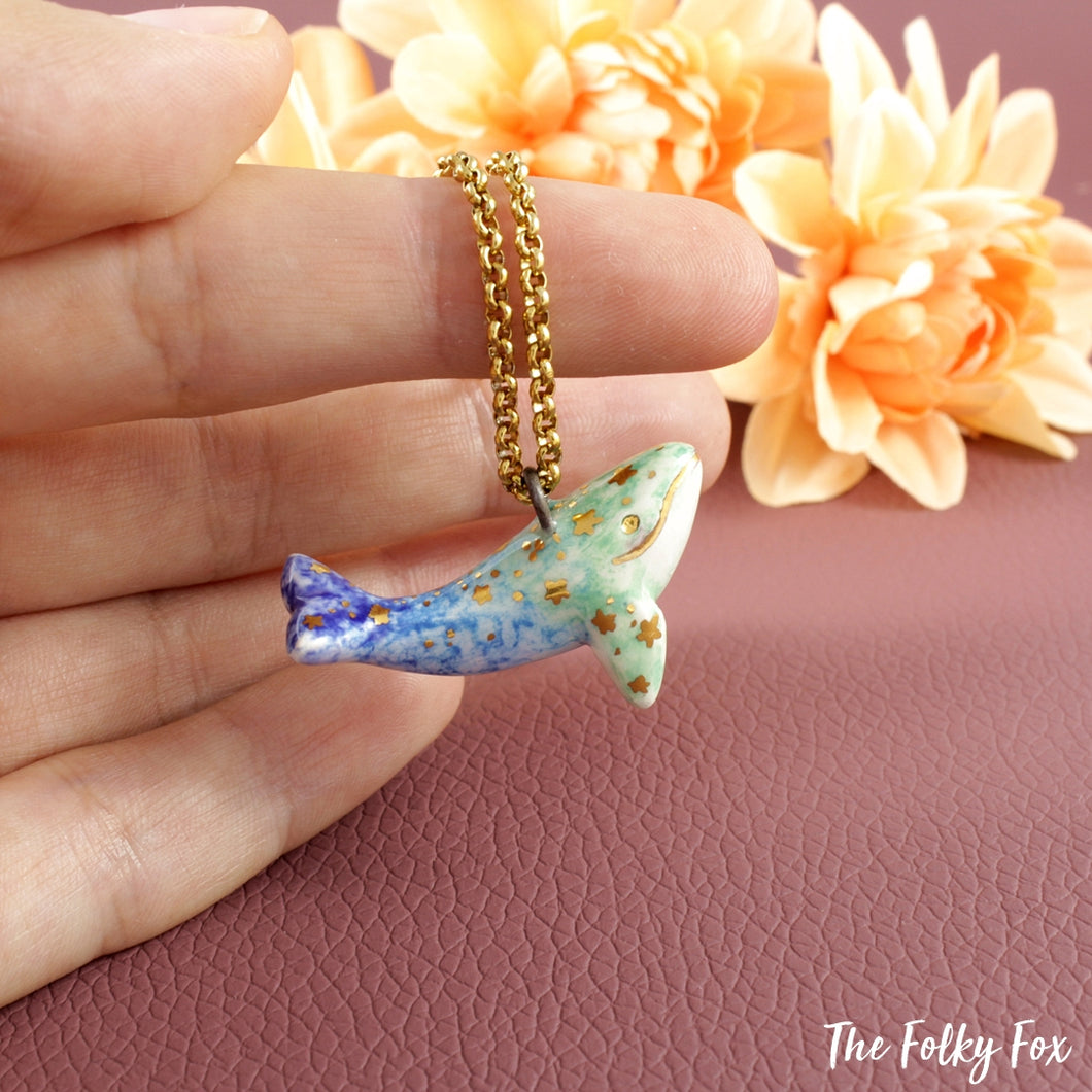 Whale Necklace in Ceramic - The Folky Fox