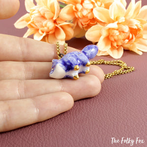 Blue Fox Necklace in Ceramic - The Folky Fox