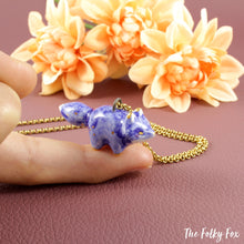Load image into Gallery viewer, Blue Fox Necklace in Ceramic - The Folky Fox