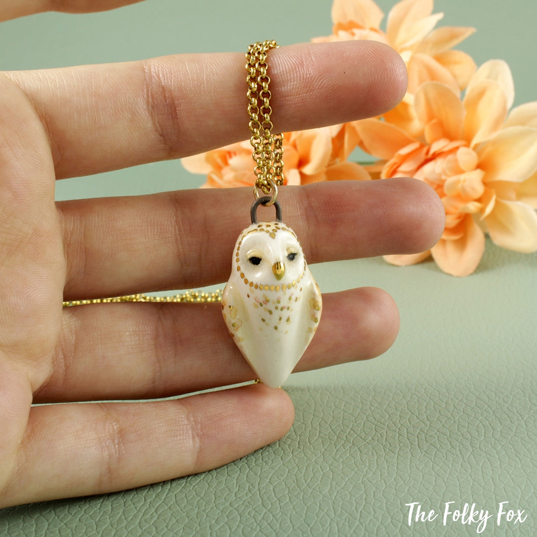 Barn Owl Necklace in Ceramic - The Folky Fox