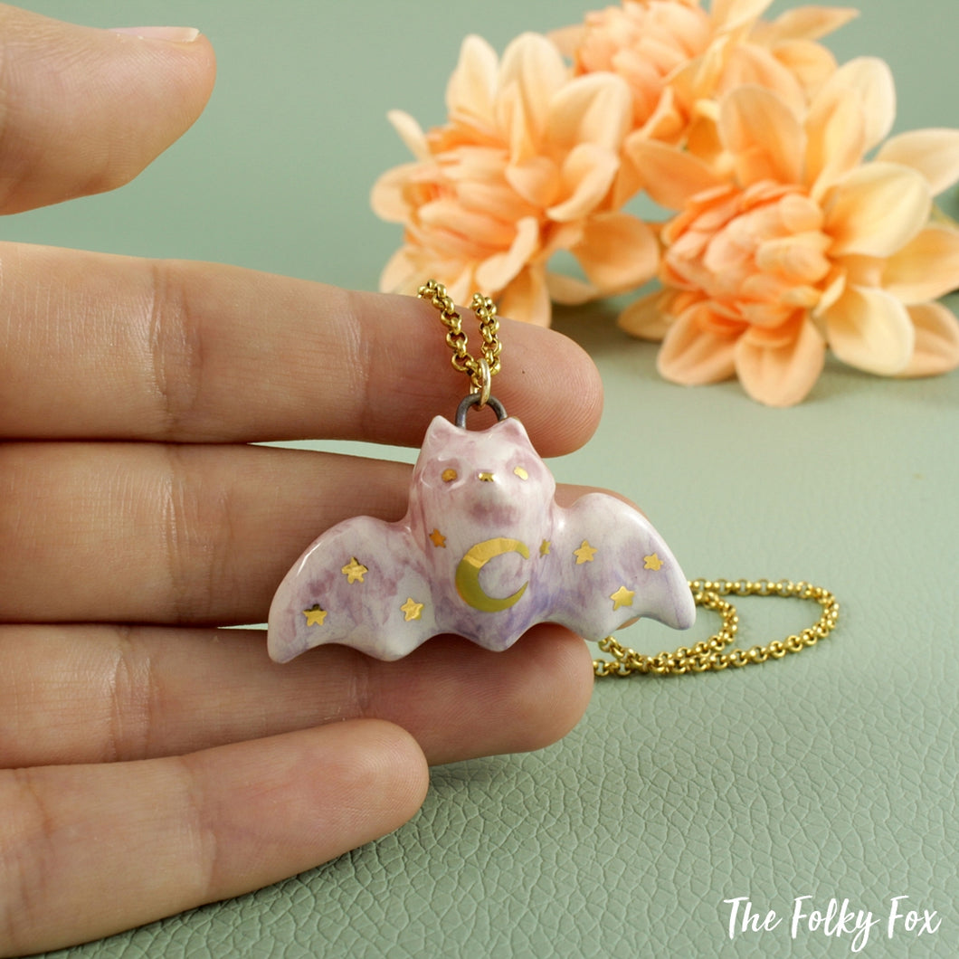 Flying Fox Necklace in Ceramic - The Folky Fox