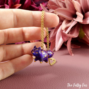 Galaxy Fox Necklace in Polymer Clay 1 - The Folky Fox