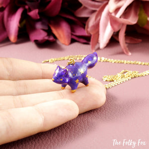 Galaxy Fox Necklace in Polymer Clay 2 - The Folky Fox