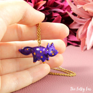Galaxy Fox Necklace in Polymer Clay 5 - The Folky Fox
