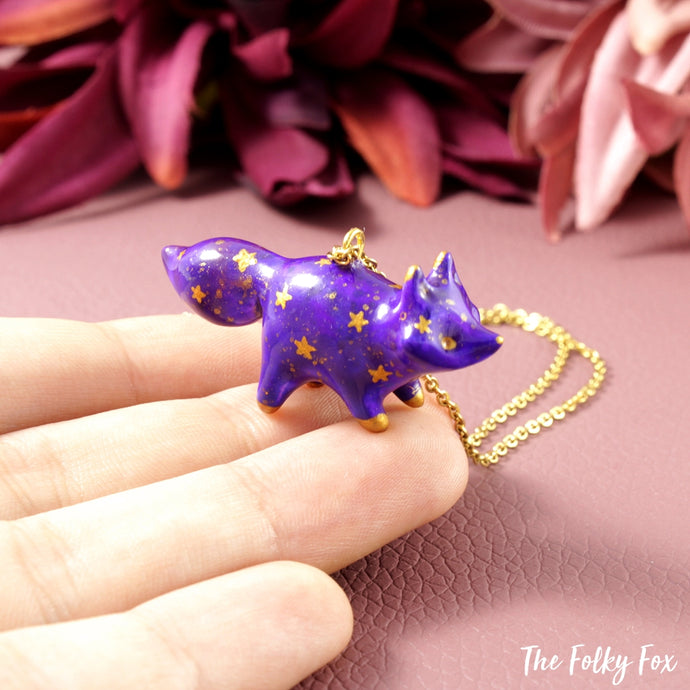 Galaxy Fox Necklace in Polymer Clay 7 - The Folky Fox