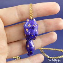Load image into Gallery viewer, Galaxy Cat Necklace in Polymer Clay - The Folky Fox
