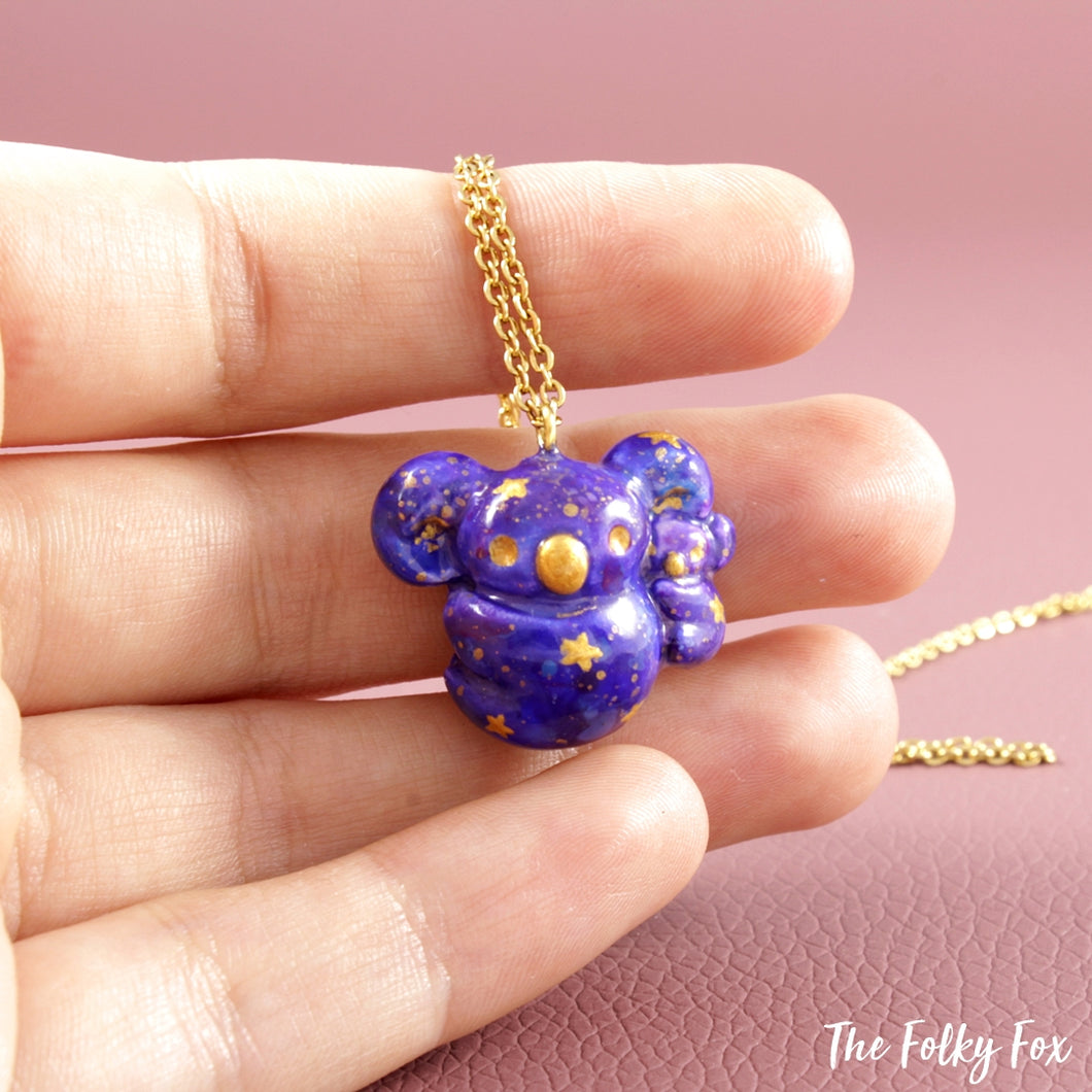 Galaxy Koala Necklace in Polymer Clay - The Folky Fox