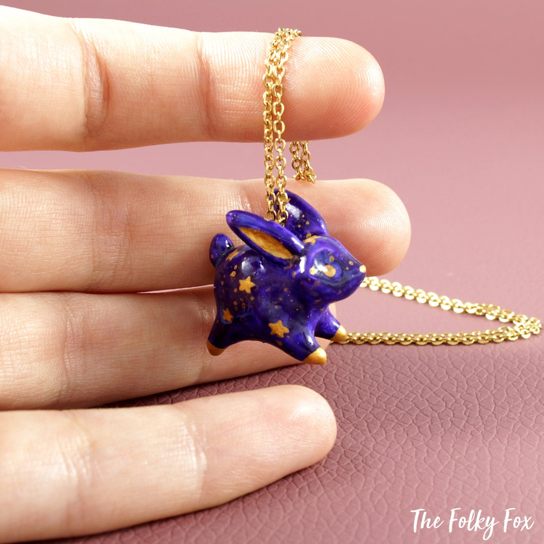 Galaxy Bunny Necklace in Polymer Clay - The Folky Fox