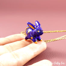 Load image into Gallery viewer, Galaxy Bunny Necklace in Polymer Clay - The Folky Fox
