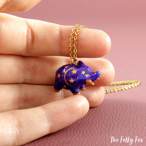 Galaxy Elephant Necklace in Polymer Clay - The Folky Fox