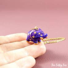 Load image into Gallery viewer, Galaxy Elephant Necklace in Polymer Clay - The Folky Fox