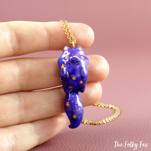 Galaxy Cat Necklace in Polymer Clay - The Folky Fox