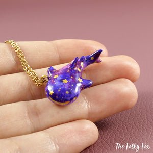 Galaxy Whale Shark Necklace in Polymer Clay - The Folky Fox