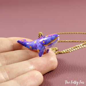 Galaxy Whale Necklace in Polymer Clay - The Folky Fox