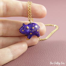 Load image into Gallery viewer, Galaxy Bear Necklace in Polymer Clay - The Folky Fox