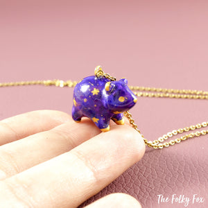 Galaxy Bear Necklace in Polymer Clay - The Folky Fox