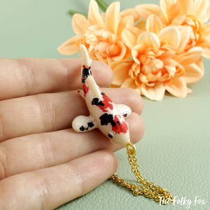 Koi Fish Necklace in Polymer Clay - The Folky Fox