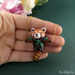 Red Panda Necklace in Polymer Clay - The Folky Fox