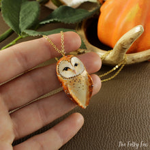 Load image into Gallery viewer, Barn Owl Necklace in Polymer Clay - The Folky Fox