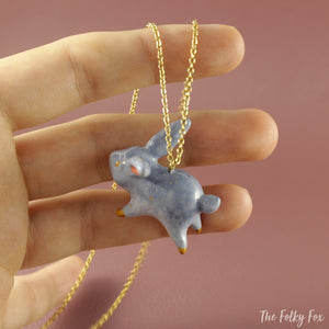 Bunny Necklace in Polymer Clay - The Folky Fox