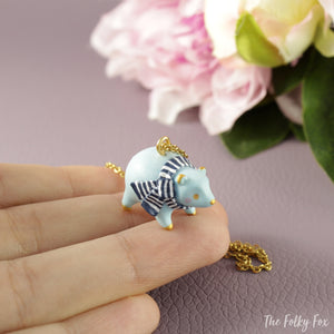 Blue Polar Bear Necklace in Polymer Clay - The Folky Fox