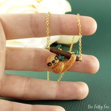 Load image into Gallery viewer, Sloth Necklace in Polymer Clay - The Folky Fox