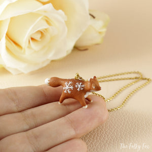 Gingerbread Fox Necklace in Polymer Clay 1 - The Folky Fox