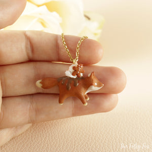 Gingerbread Cake Fox Necklace in Polymer Clay 2 - The Folky Fox