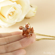 Load image into Gallery viewer, Gingerbread Cake Fox Necklace in Polymer Clay 2 - The Folky Fox