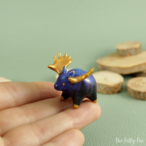Galaxy Moose Figurine in Polymer Clay - The Folky Fox