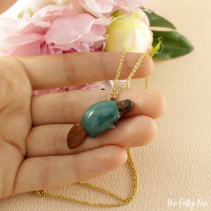 Platypus Necklace in Polymer Clay - The Folky Fox