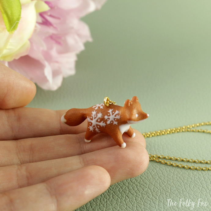 Gingerbread Fox Necklace in Polymer Clay 1