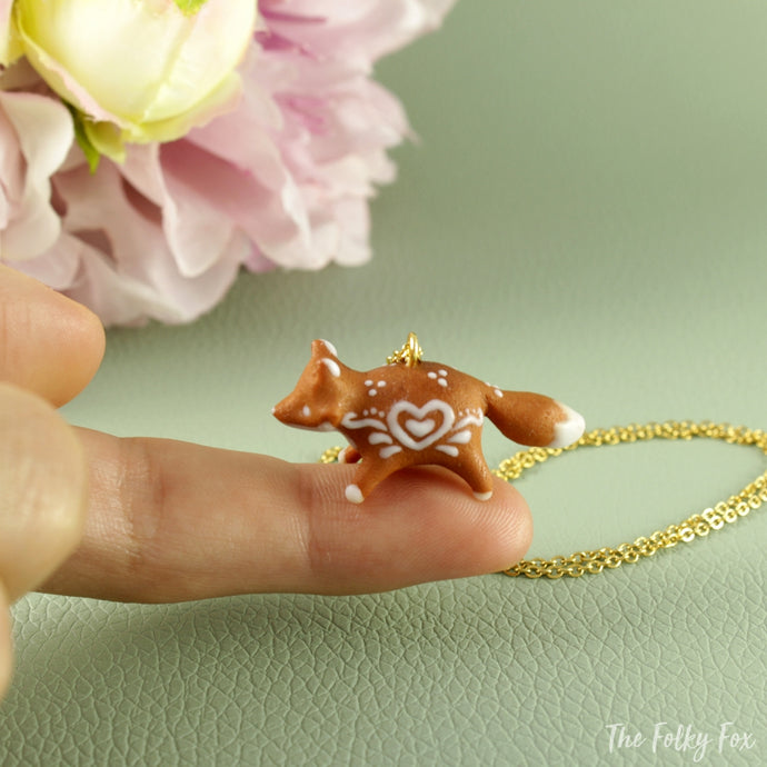 Gingerbread Fox Necklace in Polymer Clay 2