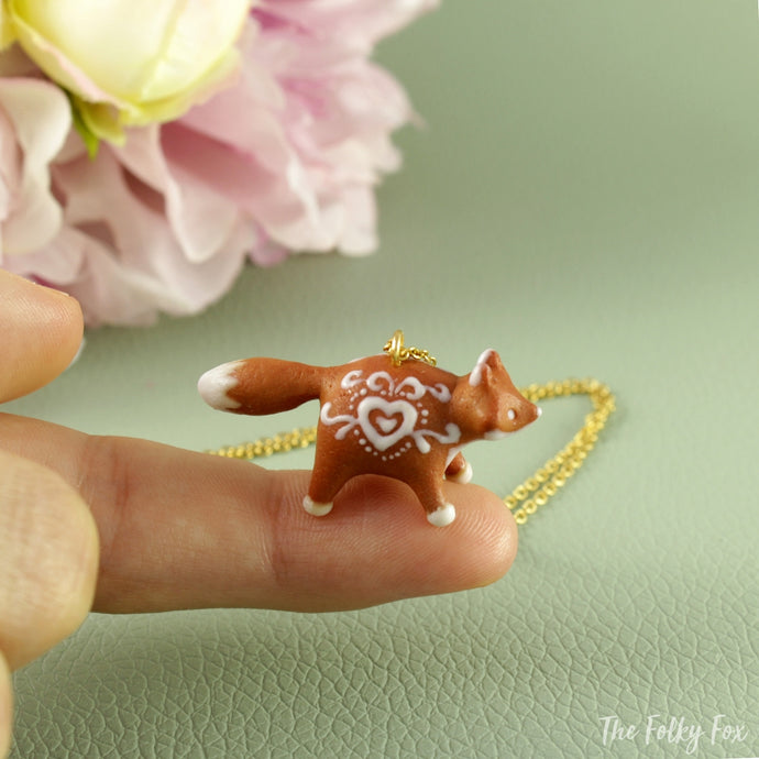 Gingerbread Fox Necklace in Polymer Clay 3