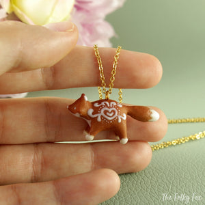 Gingerbread Fox Necklace in Polymer Clay 3 - The Folky Fox
