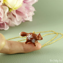 Load image into Gallery viewer, Gingerbread Fox Necklace in Polymer Clay 4 - The Folky Fox