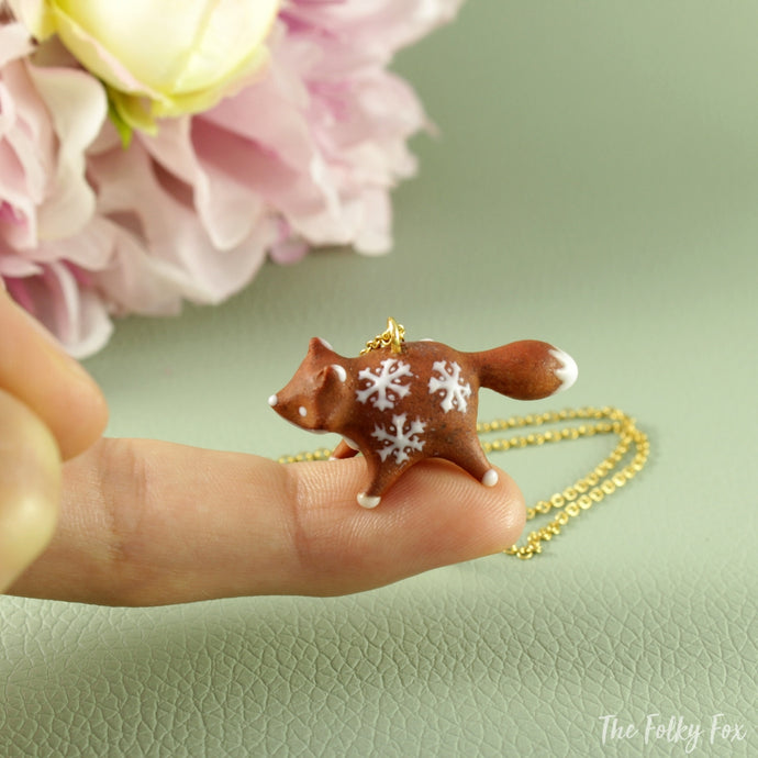 Gingerbread Fox Necklace in Polymer Clay 4