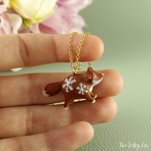 Gingerbread Fox Necklace in Polymer Clay 4 - The Folky Fox