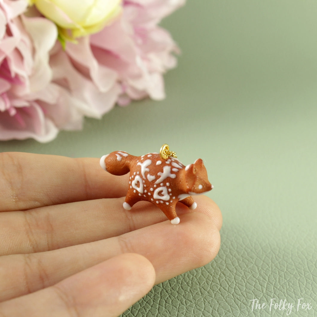 Gingerbread Fox Necklace in Polymer Clay 5 - The Folky Fox