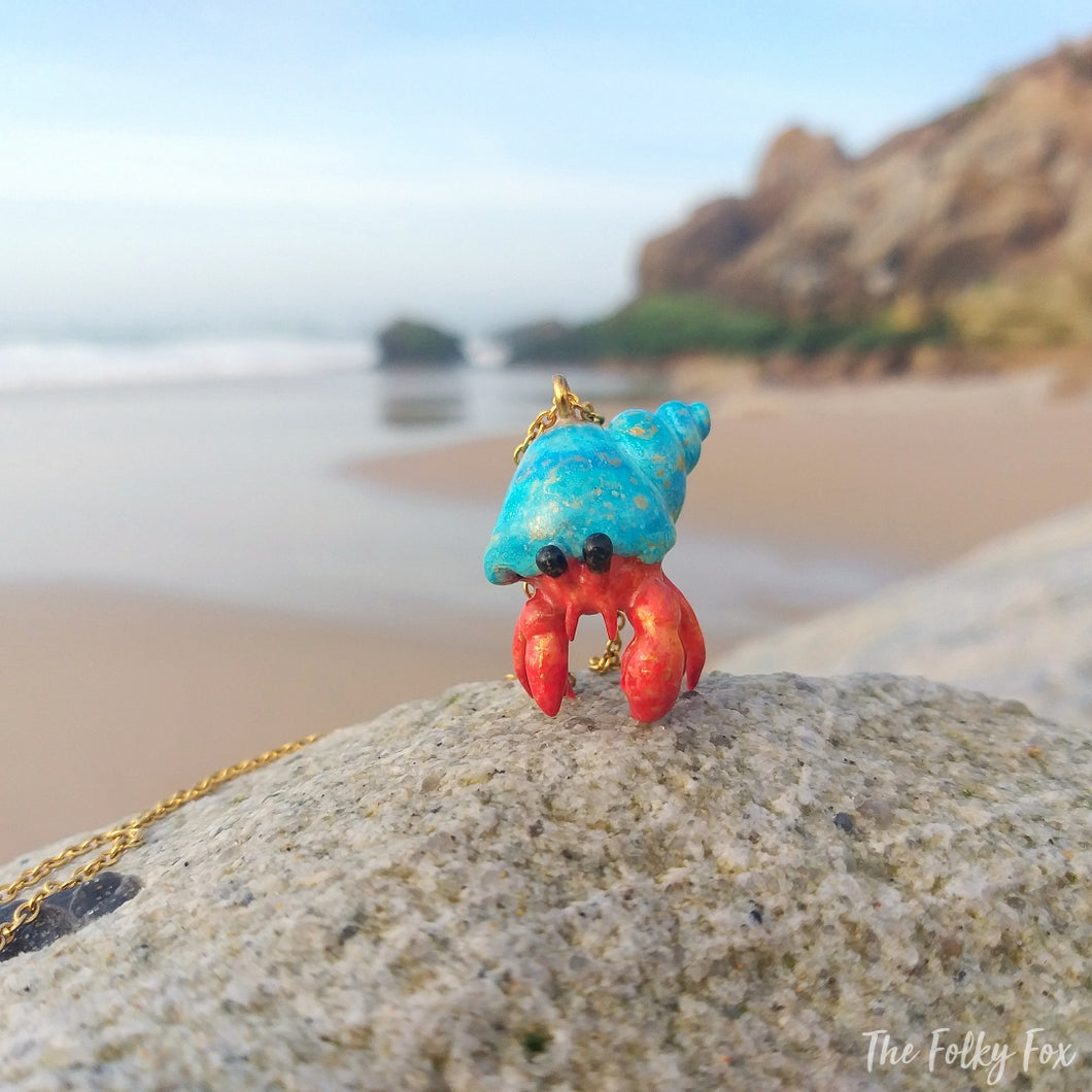 Hermit Crab Necklace in Polymer Clay - The Folky Fox