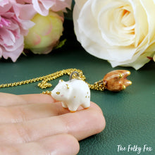 Load image into Gallery viewer, White Bear Necklace in Ceramic - The Folky Fox