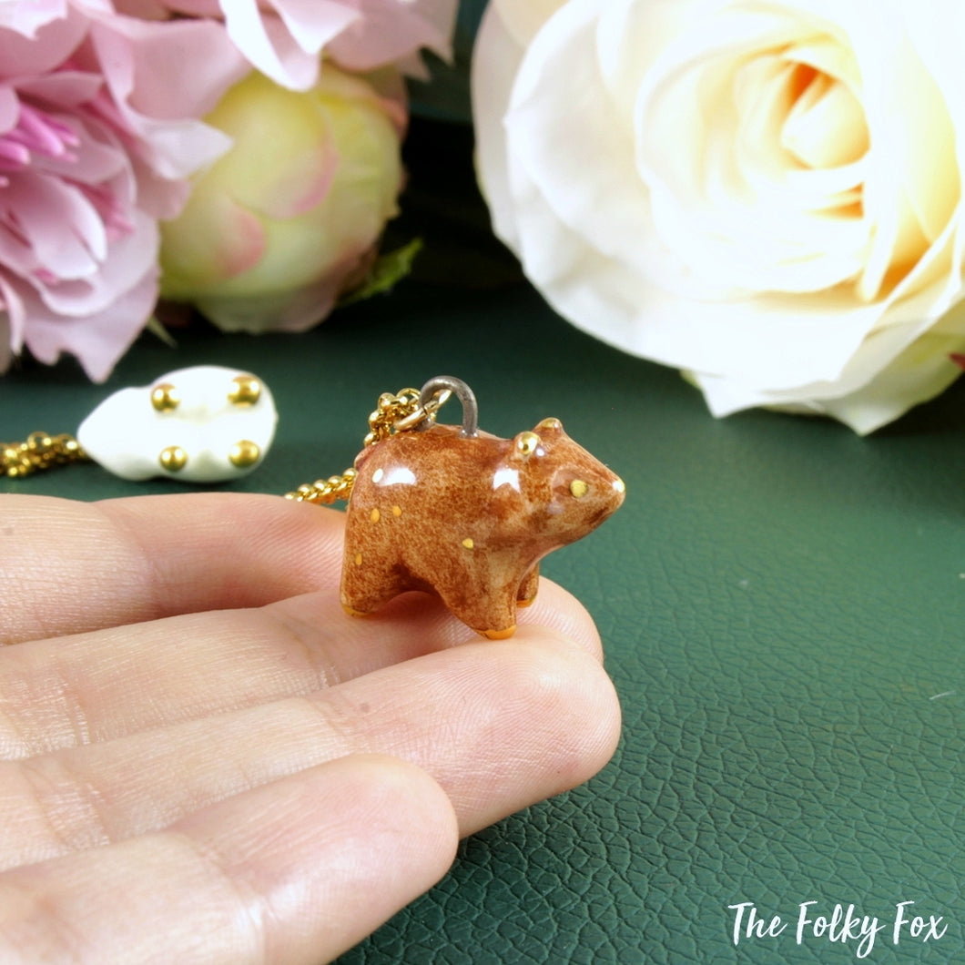 Brown Bear Necklace in Ceramic - The Folky Fox
