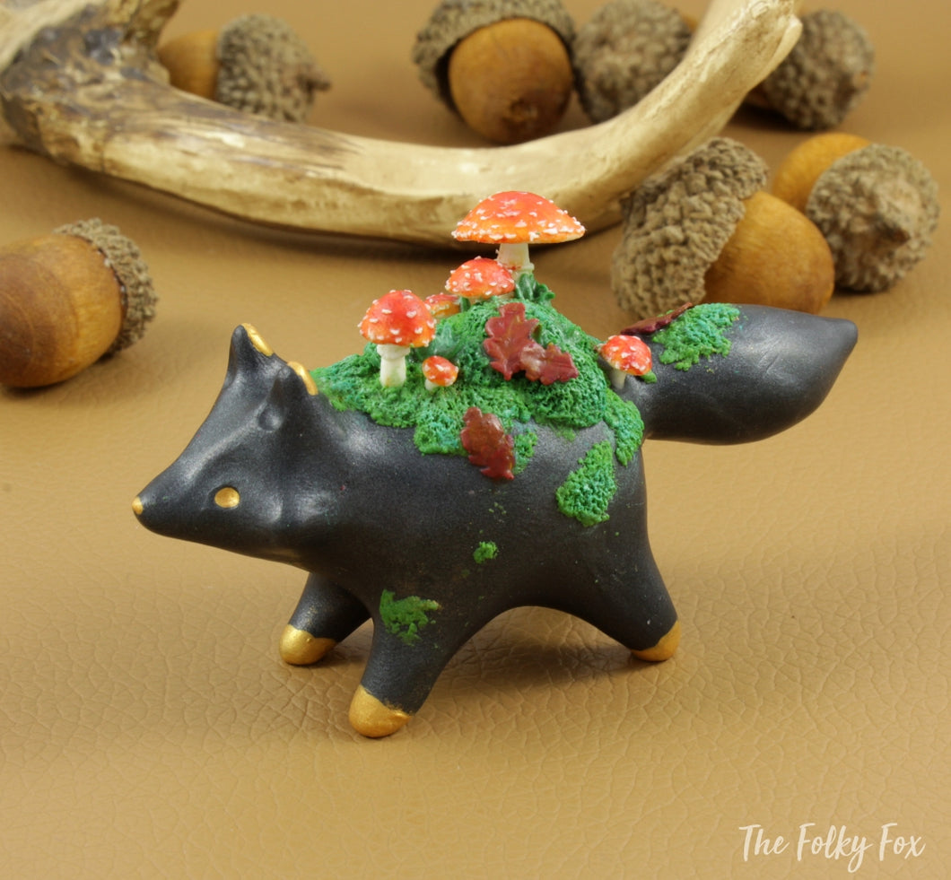Mushroom Fox Sculpture in Polymer Clay - 1 - The Folky Fox