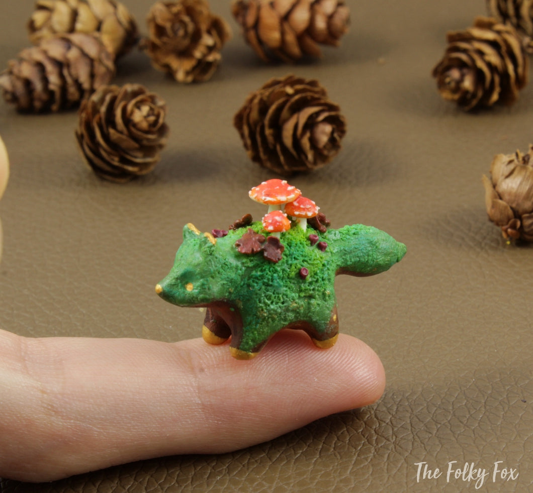 Mushroom Fox Sculpture in Polymer Clay - 3 - The Folky Fox