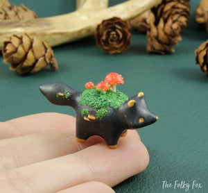 Mushroom Fox Sculpture in Polymer Clay - 4 - The Folky Fox