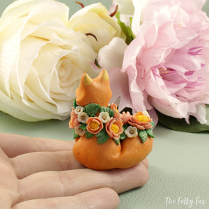 Spring Fox Sculpture in Polymer Clay - The Folky Fox