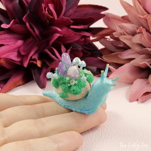 Crystal Snail Sculpture in Polymer Clay - The Folky Fox