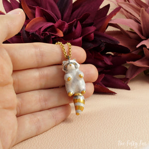 Raccoon Necklace in Ceramic - The Folky Fox
